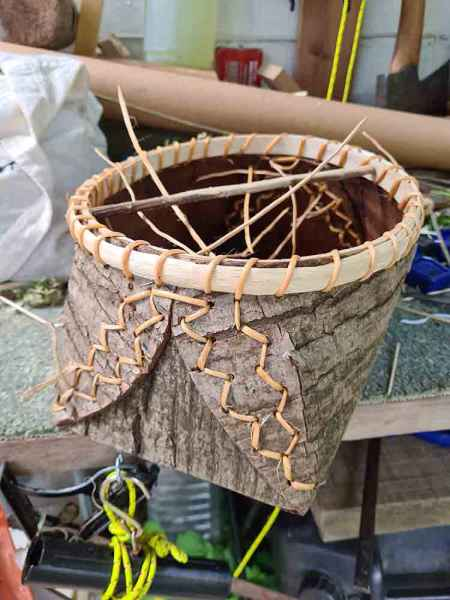 Sweet chestnut container stitched