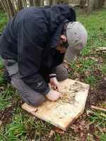 Making fire with birch bark at East Bysshe
